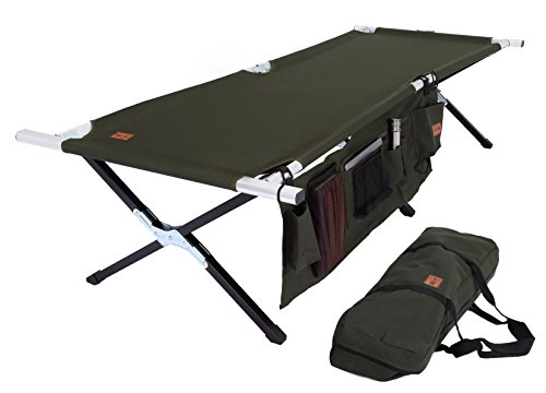 Tough Outdoors Camp Cot [Large] with Free Organizer & Storage Bag - Military Style Folding Bed for Camping, Traveling, Hunting, and Backpacking - Lightweight, Heavy-Duty & Portable Cots for Adults