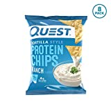Quest Nutrition Tortilla Style Protein Chips, Ranch, Low Carb, Gluten Free, Soy Free, Corn Free, Baked, 8 Count