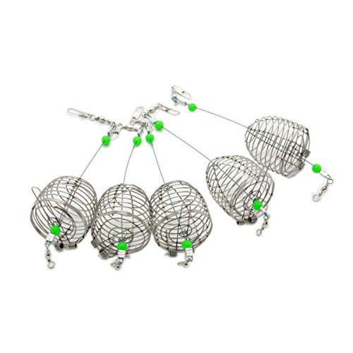 bouti1583 Fishing Bait Trap Cage Feeder Basket Holder Lure Fish Accessories M 5 Pcs