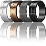 ThunderFit Men's Silicone Rings 4 Pack Rubber Wedding Bands (Grey, Silver, Black, Bronze, 9.5-10 (19.8mm))