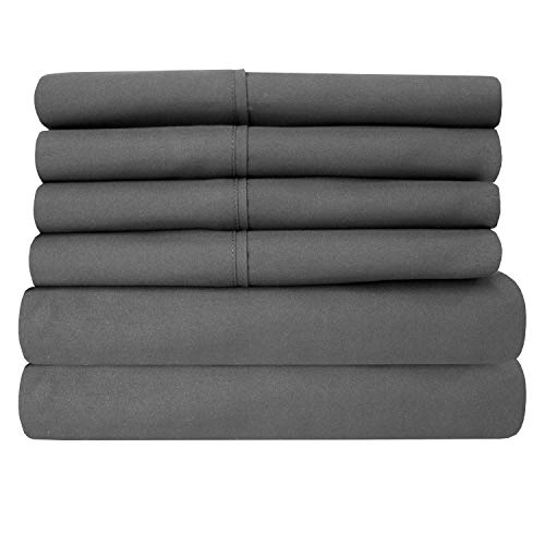 King Size Bed Sheets - 6 Piece 1500 Thread Count Fine Brushed Microfiber Deep Pocket King Sheet Set Bedding - 2 Extra Pillow Cases, Great Value, King, Gray