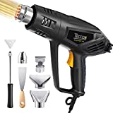 Heat Gun,TECCPO 1500W Electric Hot Air Gun with 3-Temp Mode 122℉~1022℉,6 Stainless Steel Accessories,Fast Heating In Seconds perfect for Shrinking PVC,Stripping Paint, LIMIT TIME DEAL