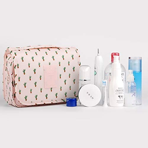 Hanging Travel Toiletry Bag Cosmetic Make up Organizer for Women and Girls Waterproof (Cactus) 9