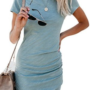 Walant Womens Short Sleeve Sheath Dress Solid Color Irregular Hem Summer Bodycon Mini Dress 2 Fashion Online Shop 🆓 Gifts for her Gifts for him womens full figure