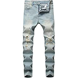 Boy's Light Blue Skinny Fit Ripped Destroyed Distressed Stretch Slim Jeans Pants