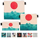 Art of Lunch Designer Lunch Baggies for Men & Women, Boys & Girls, Fashionable, Reusable, Snack & Sandwich Bags w Zipper - Design by Budi Kwan (Indonesia) - The Ocean, The Sea, The Wave