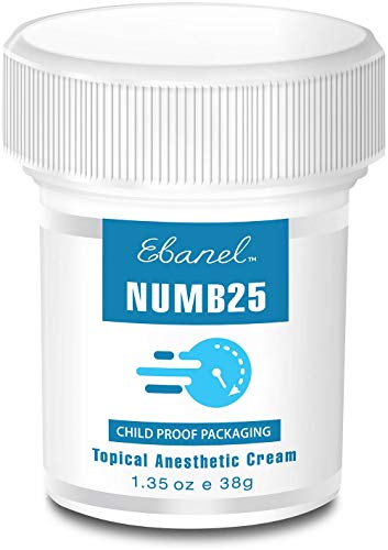 Numb25 Max Strength Lidocaine 5% Topical Numbing Cream for Tattoo, Microneedling, Laser Hair Remove,1.35oz Painkilling Anesthetic Ointment Rub with Liposomal Technology, Use Before Tattoo, Hemorrhoids