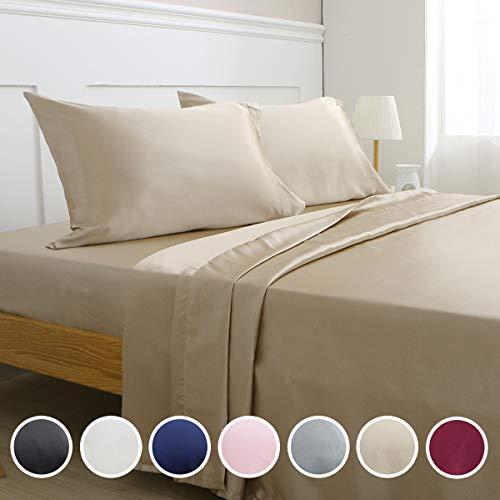 Vonty Satin Sheets Silky Satin Sheet Set, Deep Pocket Fitted Sheet + Flat Sheet + Pillowcase Bedding Set (Queen, Taupe)