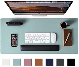 Leather Desk Pad Protector,Mouse Pad,Office Desk Mat, Non-Slip PU Leather Desk Blotter,Laptop Desk Pad,Waterproof Desk Writing Pad for Office and Home (Light Blue,31.5″ x 15.7″)