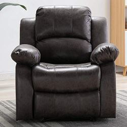 Bonzy Home Air Suede Recliner Chair Overstuffed Heavy Duty Recliner – Faux Suede Leather Home Theater Seating – Manual Bedroom & Living Room Chair Reclining Sofa (Smoke Gray)