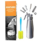 Whipped Cream Dispenser Cream Whipper - Whipping Siphon Whip Cream Charger Seltzer Water Maker Aluminum 1 Pint Stainless Steel Tips Bonus Recipe Ebook Cleaning Brushes Animato Silver Nitro Cold Brew