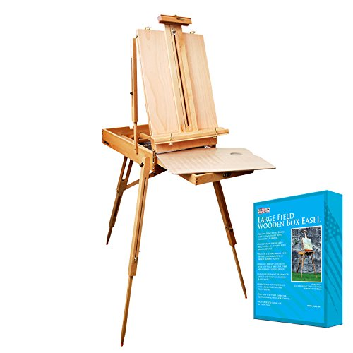 "U.S. Art Supply Coronado French Style Easel & Sketchbox with 12"" Drawer, Wooden Pallete & Shoulder Strap"