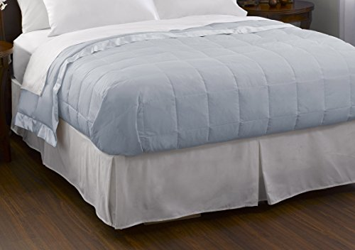 Pacific Coast Feather Company 67815 Down Blanket, Cotton Cover with Satin Border, Hypoallergenic, King, Blue Ice
