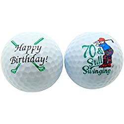 70th Birthday Seventy & Still Swinging Set of 2 Golf Balls