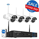 Wireless Security Camera System, NexTrend 8 Channel 1080P Home Security Camera System, 4PCS 960P(1.3 MP) Waterproof Security Cameras, 1TB Hard Drive, Plug-Play Indoor Outdoor Security Camera System