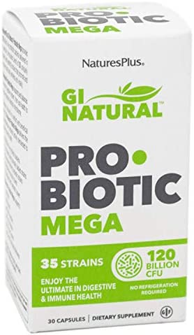 NaturesPlus GI Natural Probiotic Capsules, Mega - 30 Capsules - 35 Live Probiotic Strains & Prebiotics - Supports Stomach, Small Intestine, Large Intestine & Immune System - Gluten-Free - 30 Servings 1