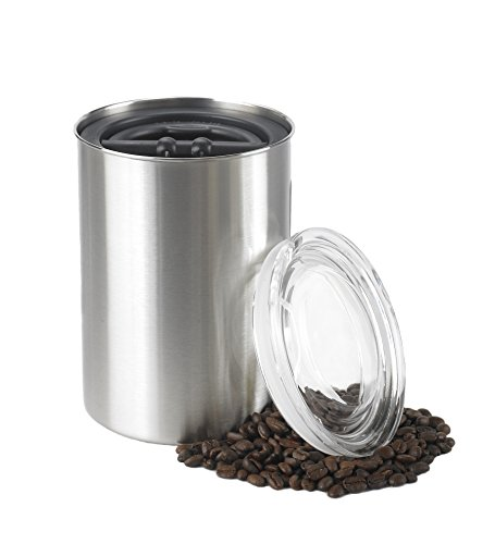 Planetary Design Airscape Coffee Storage Canister (1 lb Dry Beans) - Patented Airtight Lid Pushes Air Out to Preserve Food Freshness - Stainless Steel Food Container - Brushed Steel