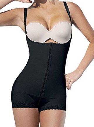 SHAPERX Camellias Women Open Bust Bodysuit Seamless Firm Control Shapewear Underwear Body Shaper Faja, SZ7102-Black-L