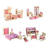 Wooden Dollhouse Furniture Set Including Kitchen Bathroom Bedroom Kid Room for Dollhouse Pink Color