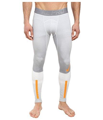 Mens Nike Pro Combat Hyperwarm Compression 2.0 Tights Pants (S, White (100) / Team Orange/Cool Grey)