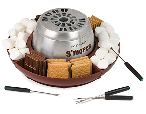 Nostalgia LSM400 Lazy Susan Electric Stainless Steel S'Mores Maker