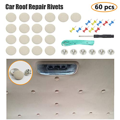 EZYKOO 60 pcs Car Roof Headliner Repair Button, Auto Roof Snap Rivets Retainer Design for Car Roof Flannelette Fixed, with Installation Tool and Fit All Cars(Grey Beige Grid)