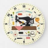 EnjoyHome Sewing Machine Wall Clock Silent Rustic Country Farmhouse Decor Wooden Clock for Men 16 inches