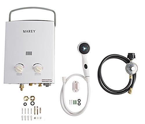 Marey GA5PORT Portable Propane Gas Tankless Water Heater, Small, White