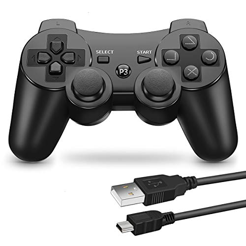 VOYEE PS3 Controller Wireless - Rechargable Remote Control/Gamepad with Charging Cable for Sony Playstation 3 (Black)