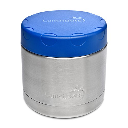 LunchBots 16oz Thermal Stainless Steel Wide Mouth Thermos - Insulated Container with Lid Keeps Food Hot or Cold for Hours - Leak-Proof Portable Thermal Food Jar is Ideal for Soup - 16 ounce - Blue
