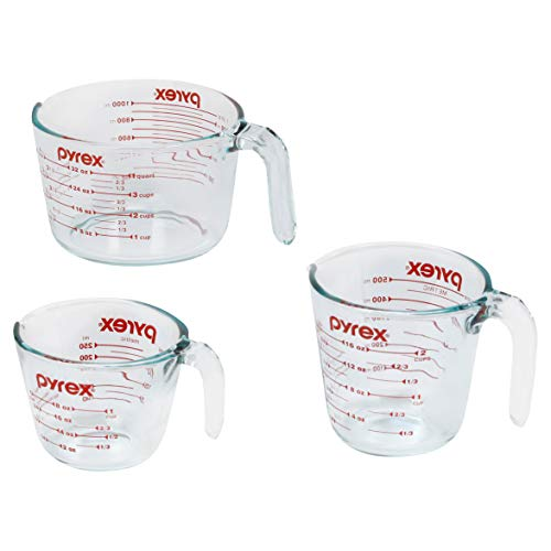 Pyrex 1118990 Measuring Cups, 3-Piece, Clear