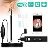 Ear Otoscope, Fvgia Black 16 Wireless Ear Camera, 1.3 Megapixels WiFi Ear Scope USB Ear Cleaning Endoscope, Digital Inspection Otoscope with 6 Adjustable LEDs for iOS and Android Dvices, Windows