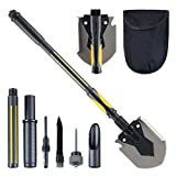 HARVET Military Portable Shovel and Pickax, 15-28 Inch Multi-Function Folding Shovel Survival Entrenching Tool with Saw, Rod and Knife for Hiking, Camping, Back