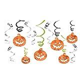 Halloween Hanging Pumpkins and Ghosts Foil Swirls...