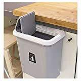kary chef Hanging Trash Can,Small Cabinet Kitchen Trash Can,Garbage Canfor Kitchen Cupboardwith Automatic Return Lid,Grey