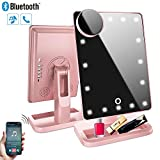 Makeup Mirror with Lights and Bluetooth,Vanity Mirror with 20 LED, Adjustable Brightness, Detachable 10x Magnification,Girl Lighted Up Cosmetic Mirror, Rechargeable (Rose Gold)