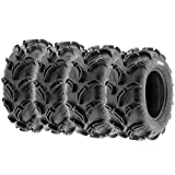 Set of 4 SunF Warrior AT Mud & Trail 26x9-12 Front & 26x11-12 Rear ATV UTV Off-Road Tires, 6 PR, Tubeless A048