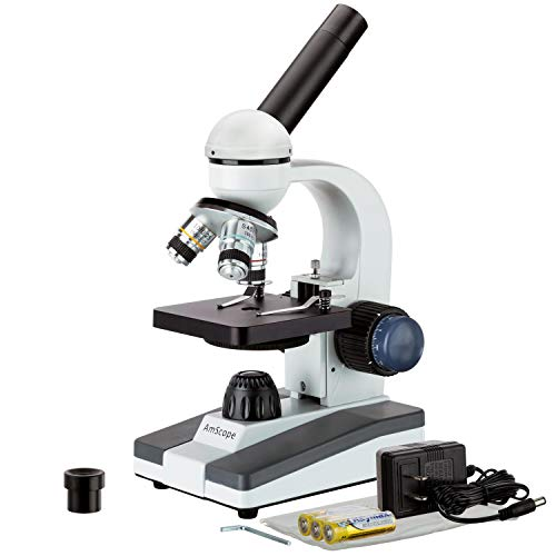 AmScope  M150C-I 40X-1000X All-Metal Optical Glass Lenses Cordless LED Student Biological Compound Microscope