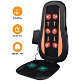 Massage Chair Pad Shiatsu Back Massager with Heat - Electric Massage Cushion with Deep Tissue Kneading for Full Back Muscle Pain Relief - Home and Office Use