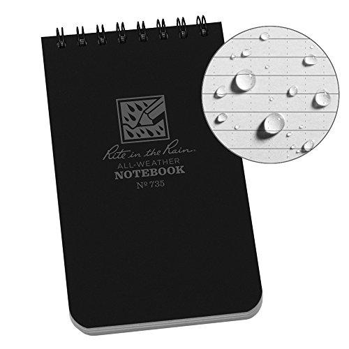 Rite in the Rain Weatherproof Top-Spiral Notebook, 3' x 5', Black Cover, Universal Pattern (No. 735)
