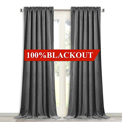 StangH Thermal Velvet Curtains 108-inch - Full Blackout Lining Velvet Drapes, Extra Long Heavyweight Soundproof Window Covering Privacy Panels for Room Divider, Grey, 52'x108', 2 Pcs