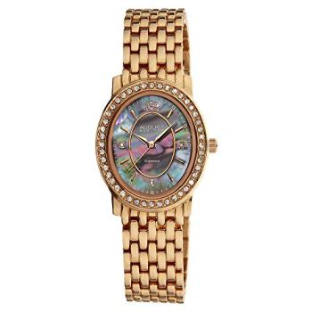 August Steiner Women's Dazzling Diamond Watch - Genuine Crystal Filled Bezel 3 Diamond Hour Markers Mother-of-Pearl Dial on Stainless Steel Bracelet - AS8043