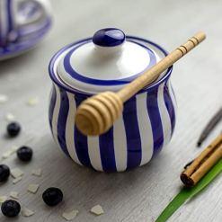Navy Blue Stripe Sugar Bowl