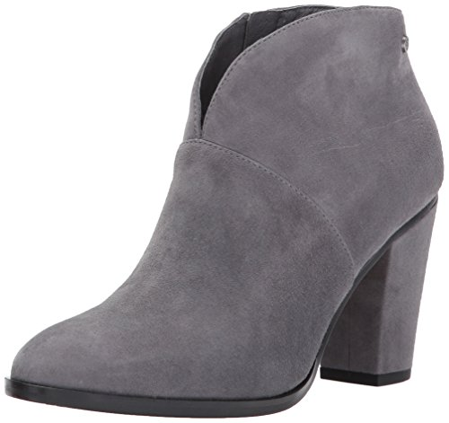 8154nhvgYaL Suede ankle boot featuring curved topline, almond toe, and stacked heel Leather lined