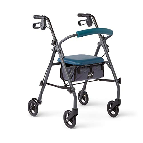 Medline Rollator Walker with Seat and Wheels, Folding Walker for Seniors with Microban Antimicrobial Protection, Durable Steel Frame Supports up to 300 lbs, 6 inch Wheels, Teal