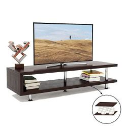 Bestier Short TV Stand with 2-Shelf Storage, 47inch Media Furniture Wood Storage Console with Steel Frame, Hollow Core Entertainment Center/Coffee Table/Sofa Table/Gaming Stand for Home Office