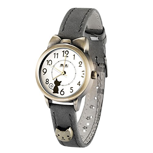 Fq-234 Soft Leather Strap Bowknot Cute Kitty Girl's Women's Students Quartz Wrist Watches Grey
