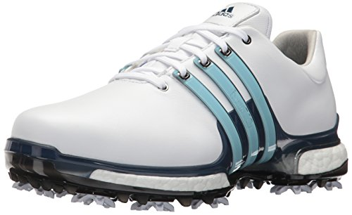 adidas Men's TOUR 360 2.0 Golf Shoe, White/Ice Blue/Mystery Ink, 9.5 M US