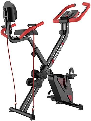 pooboo Folding Exercise Bike Indoor Cycling Bike Magnetic Upright Bike Stationary Bike with Dumbbells,Arm Resistance Bands,Pulse Sensor,LCD Monitor 1