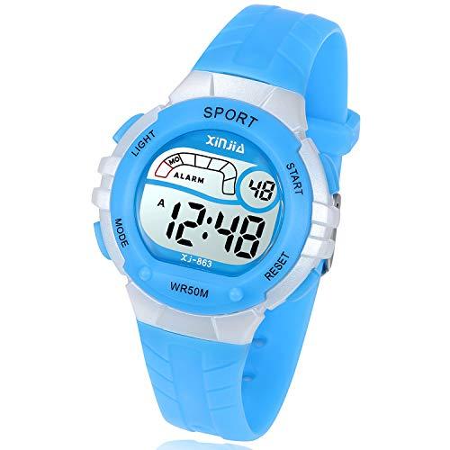 Kids Digital Watch, Girls Boys 50M(5ATM) Waterproof Multi-Functional WristWatches for Children(Blue)